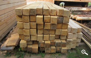 Хранение бруса 150х150 на производстве